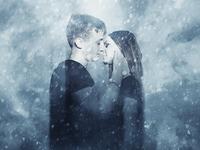 Couple blizzard kiss :D