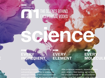 The science behind exceptional vodka vodka science concept grid layout graphic design branding identity mood board type typography modern
