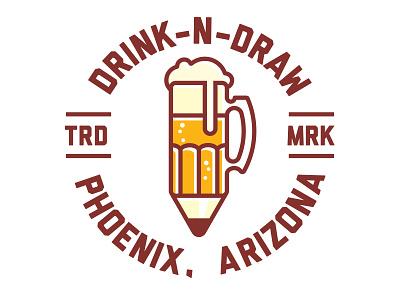 Drink-N-Draw, Phx phoenix phx beer mug pencil concept illustration icon logo