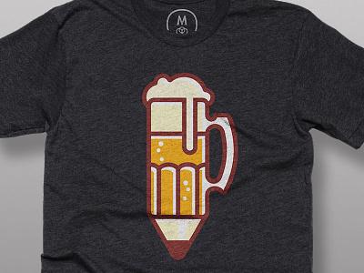 Drink-n-Draw Shirt cotton bureau drink-n-draw icon illustration pencil beer apparel shirt