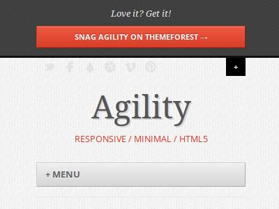 Agility - Responsive Wordpress Theme responsive wordpress minimal texture buttons mobile
