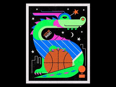 Stuff The Magic Dragon risograph riso dribbble dunk stuff florida sports basketball dragon mascot orlando magic orlando