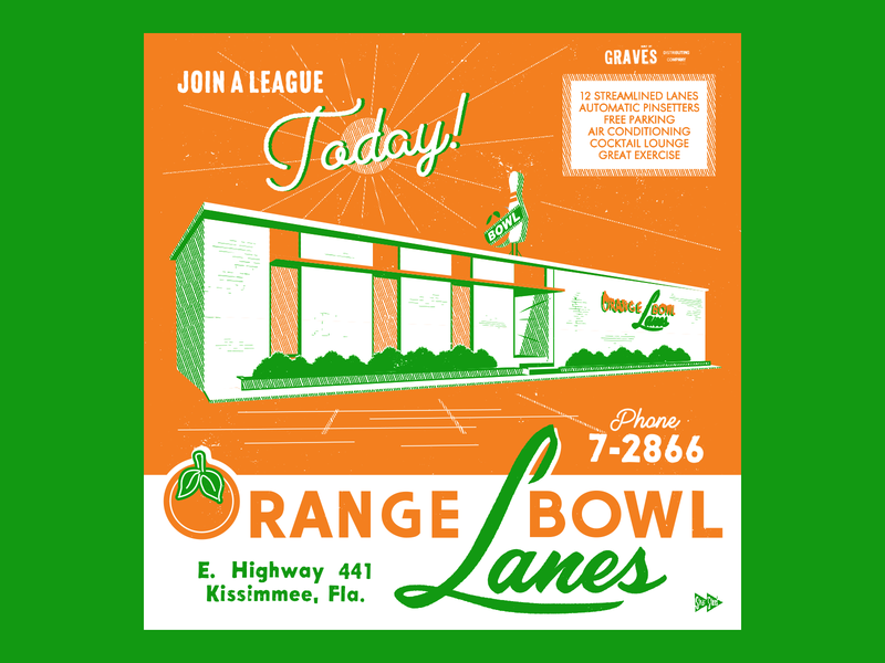 Orange Bowl Lanes mid century kissimmee orlando citrus florida tenpin bowling bowling