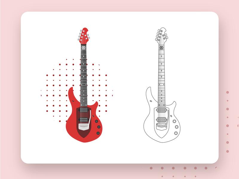 Majesty guitar branding product illustrator musicman majesty guitarist music guitar design vector art