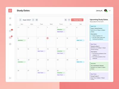 Study Buddies Calendar dashboard education study study group calendar ux ui design app