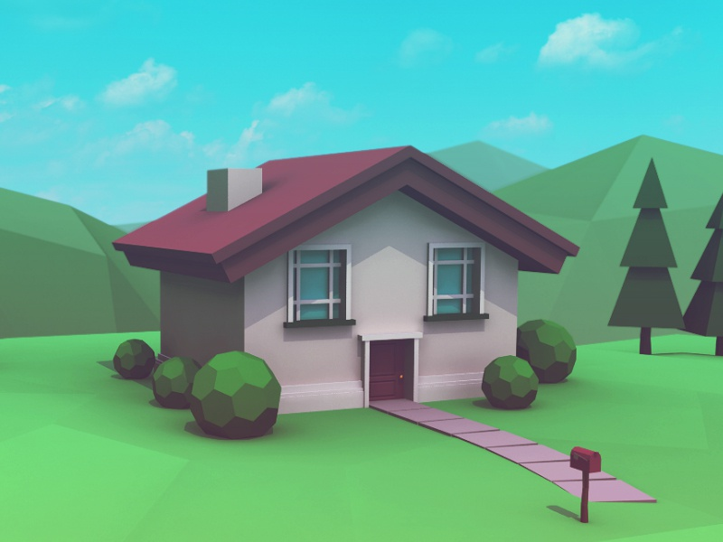 Low Poly Home 2 low poly 3d compositing home house maya modeling