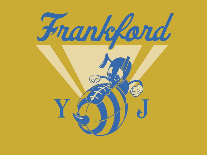 Frankford Yellow Jackets sports football yellowjacket bee vintage retro illustration tshirt