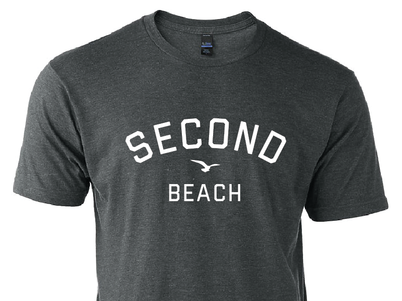 Second Beach rhode island newport typography illustration classic clean simple beach t-shirt