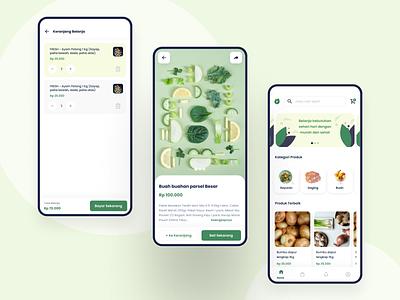 Friends & Fresh home screen product cart green shop ecommerce flat  design app android ux ui design professional modern