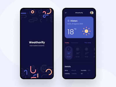 Weathorify - Weather Tracker App welcome page splash screen android ux ui professional clean weather