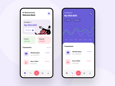 Cashey - Mini Financial Tracker purple money app cash chart report list expense income money financial home screen home clean app android design ux ui professional modern