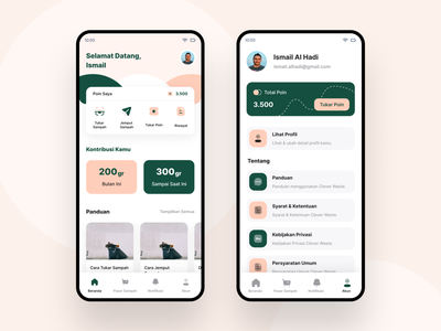 Cleverwaste account profile app home screen dashboard green ux design ui android modern professional