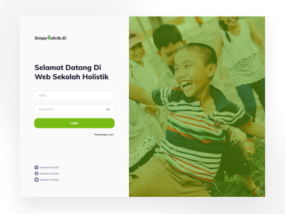 Belajar Holistik - Login learning management system learning platform learn learning online school login page daring school green login web app ui design professional modern
