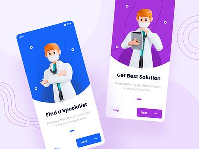 Medicool - Onboard Screens medical clean modern android app ux onboard 3d