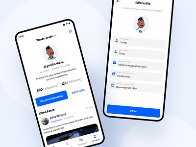 Hepert - Account clean edit profile social media mobile blue form profile account app android ux design ui professional modern