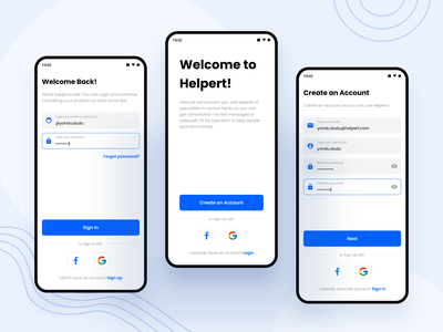 Helpert - Authentication form onboard welcome welcome screen register login auth blue clean design app android ux ui professional modern