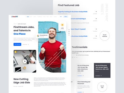 Redesign DesiOPT Website hero hero section home page blue searching job graduate fresh clean freelance search job jobs landing page page landing design ui professional modern