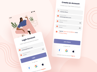 Clearo - Authentication app android illustarion welcome cosmetics skincare clean form login sign up sign in ux ui design professional modern