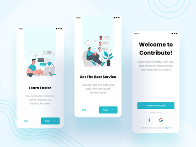 Contribute - Onboard job clean splash sign in sign up step welcome screen onboard ux design ui professional modern