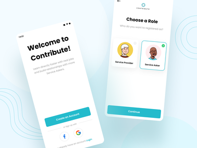 Contribute - Onboard option choose select step blue onboard screen welcome sign up job illustration android clean ux ui design professional modern
