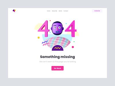 404 Page ux ui page purple missing error 404 3d illustration clean design professional modern