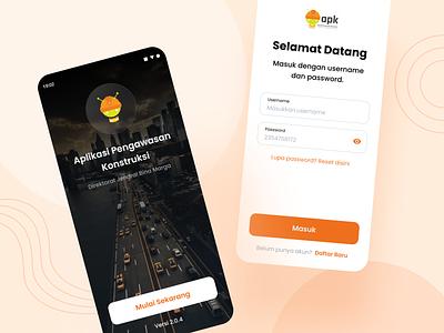 Aplikasi Pengawasan Kontruksi - Onboarding street authentication login auth orange screen welcome clean ux design ui professional modern