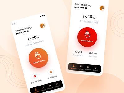 Aplikasi Pengawasan Konstruksi - Attendance red screen home orange clean ux design ui professional modern absent attendance