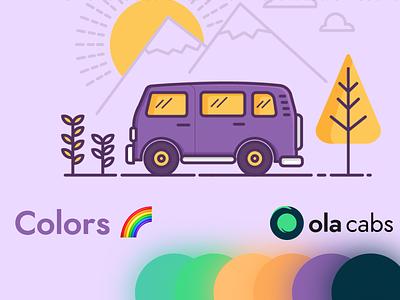 Ola Cabs Brand Redesign Concept #3: Color Scheme colorscheme colors color logo branding branding design brand identity design illustration brand design