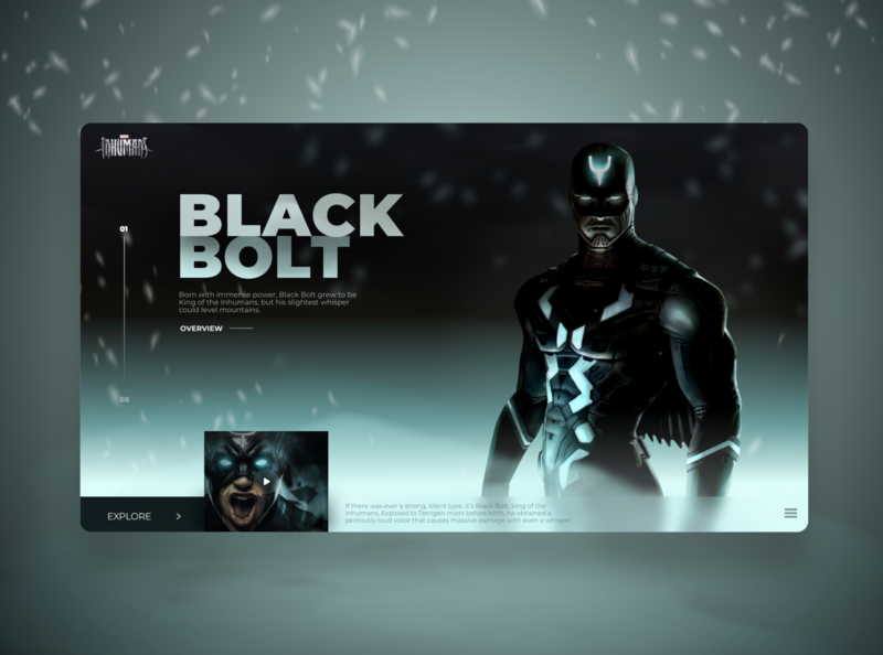 Black Bolt (Inhumans) Web design Header Concept character cool site design webdesign website design clean ui uiux ui  ux ui design clean black marvel website uidesign concept web ux ui design dribbble