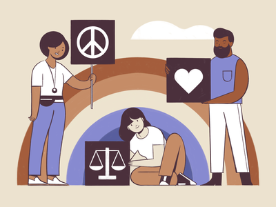 Peace, love and justice character characterdesign procreate midcentury flat branding diversity protest antiracism human rights illustration