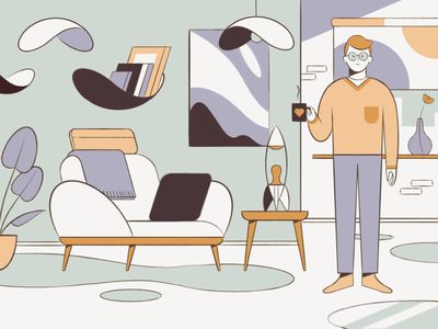 Groovy interior design character minimal illustration characterdesign flat midcentury interiordesign