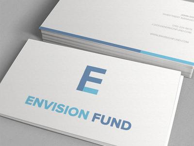 Envision Fund Mockup business card logo design minimal corporate light blue finance