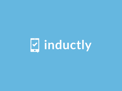Inductly Logo inductly lato phone check icon logo blue clean startup new york