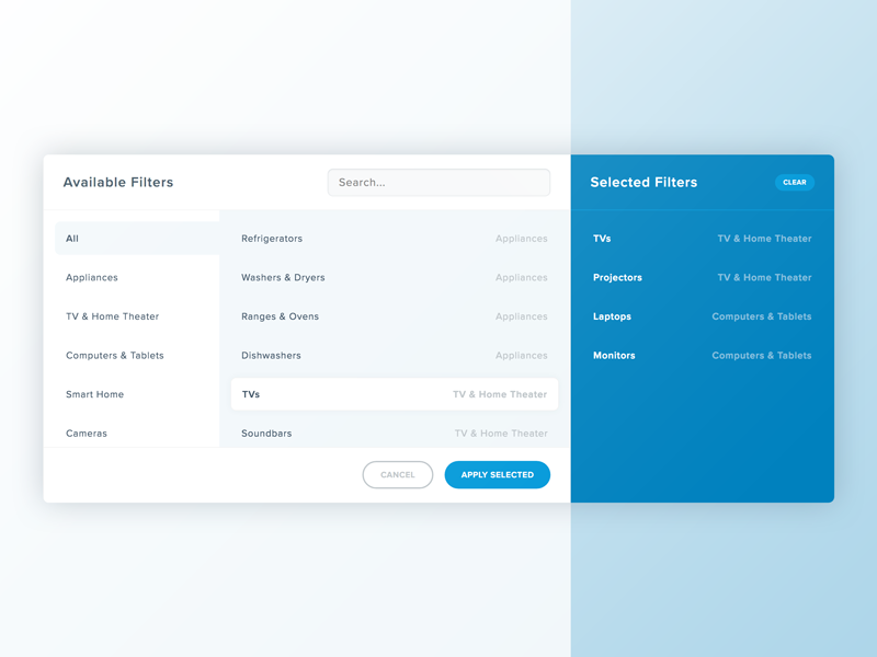 Complex Filter grouping search list modal filter form admin dashboard
