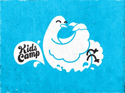 Cannonballllll! dove bird water splash logo hand lettering camp summer dive