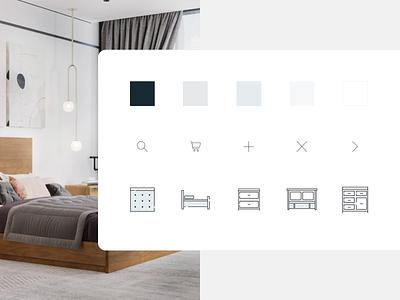 Furbysh Custom UI Elements ui design webdesign color ecommerce furniture illustration branding ui