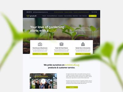 Sproutwell Homepage gardening greenhouses uxui ecommerce uxdesign web design ui