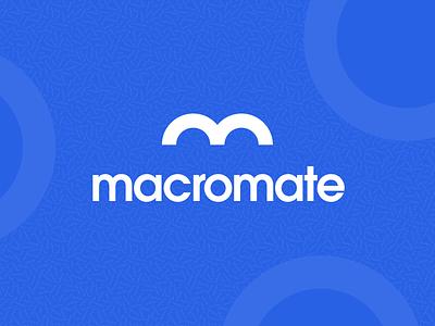 Macromate Branding clean typography vector illustration logo color blue sports logo fitness sports branding