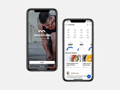 Macromate iOS App clean fitnessapp health sports fitness login application app ui ios