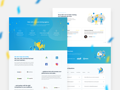 Firefly - Homepage Sections creative agency agency modern digital marketing digital marketing agency clean illustration blue gradient