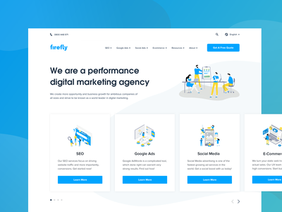 Firefly - Homepage modern clean gradient illustration creative agency blue marketing agency digital marketing agency