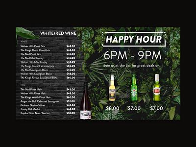 Digital Menu Board Design (Right) digital design menu design beer wine promo promotional user interface dark event restaurant drinks digital display digital display menu bar design adobexd plants