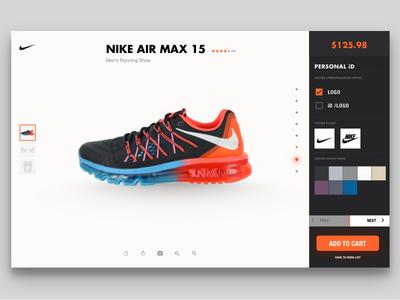 DailyUi #007 Settings interface 007 dailyui ux ui shoe setting setting swosh nike air air max nike website