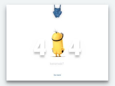 DailyUi #008 404 page  minions page 404 minimal interface ux dailyui clean ui design