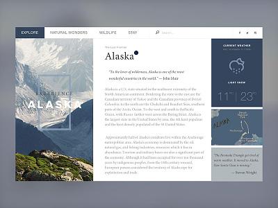 Alaska Travel info (WIP) alaska travel map blue website l web minima clean ux layout ui flat