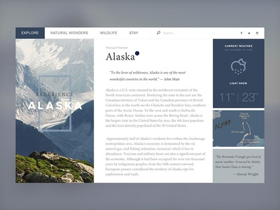 Alaska Travel info (WIP) alaska travel map blue website l web minima clean ux layout ui flat