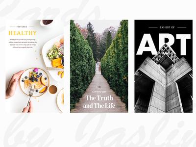 Cards  garden food art layout minimal clean type typography