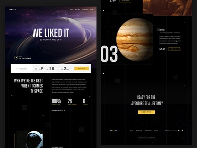 SPACED Homepage ux ui travel spacedchallenge spaced space fi sci saturn homepage design dark