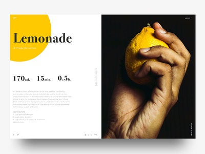 Recipes webdesign recipe ui lemon landing home design