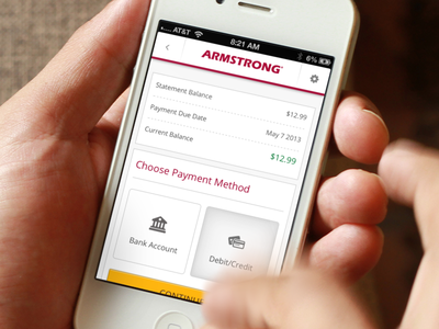 Armstrong cable internet bill billing clean ui red button interface mobile yellow app
